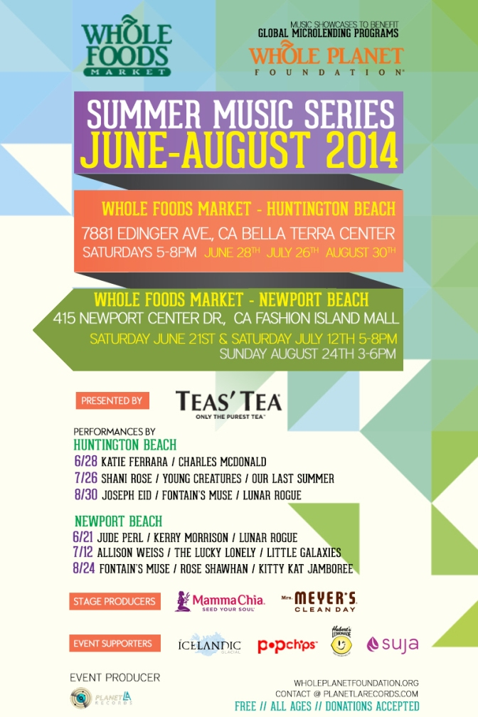 Summer Music Series at Whole Foods Markets:  June to August 2014