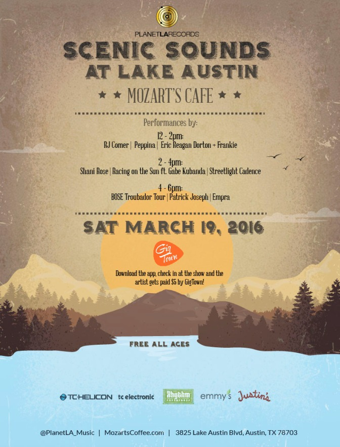 Scenic Sounds Showcase at Lake Austin:   March 19, 2016