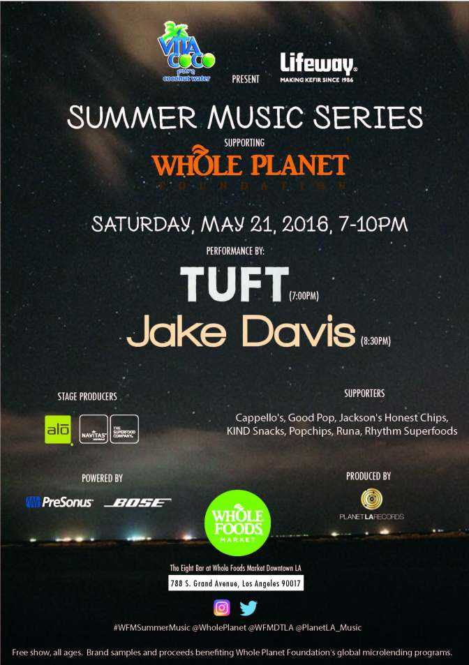 Summer Music Series Supporting Whole Planet Foundation:  May 21, 2016