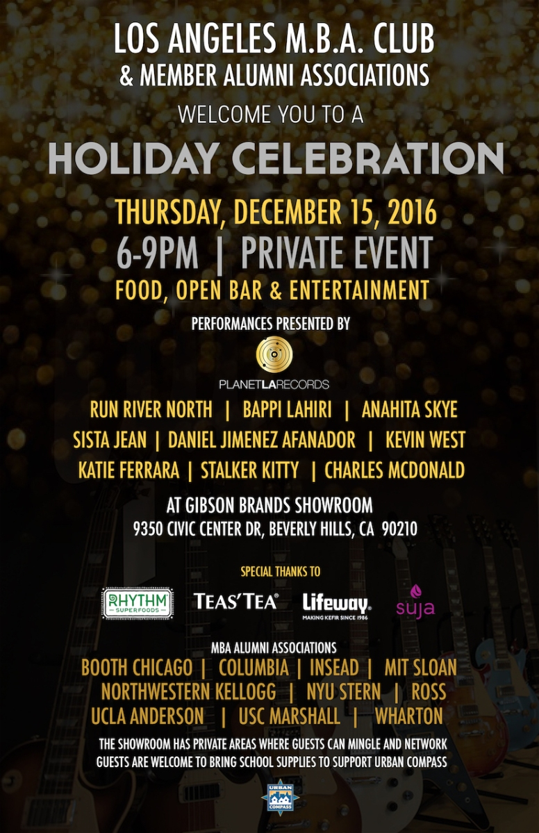 los angeles mba private holiday celebration  december 15