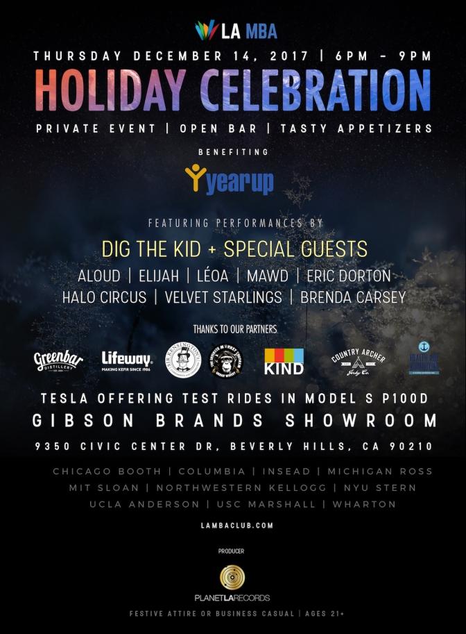 LA MBA Holiday Celebration:  December 14, 2017